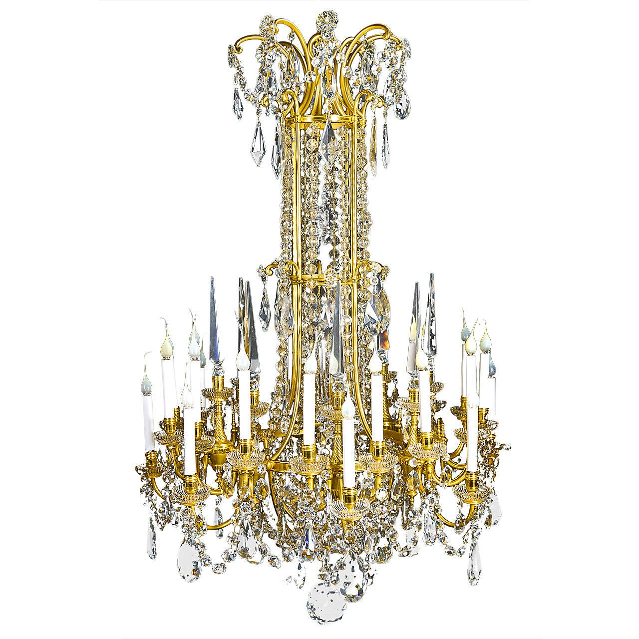 Large Antique French Louis XVI Style Gilt Bronze and Crystal Baccarat Chandelier