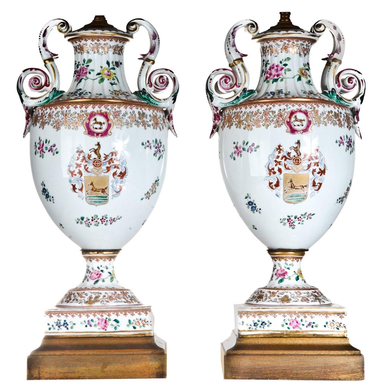 Pair of Antique French Louis XVI Style Porcelain Vases