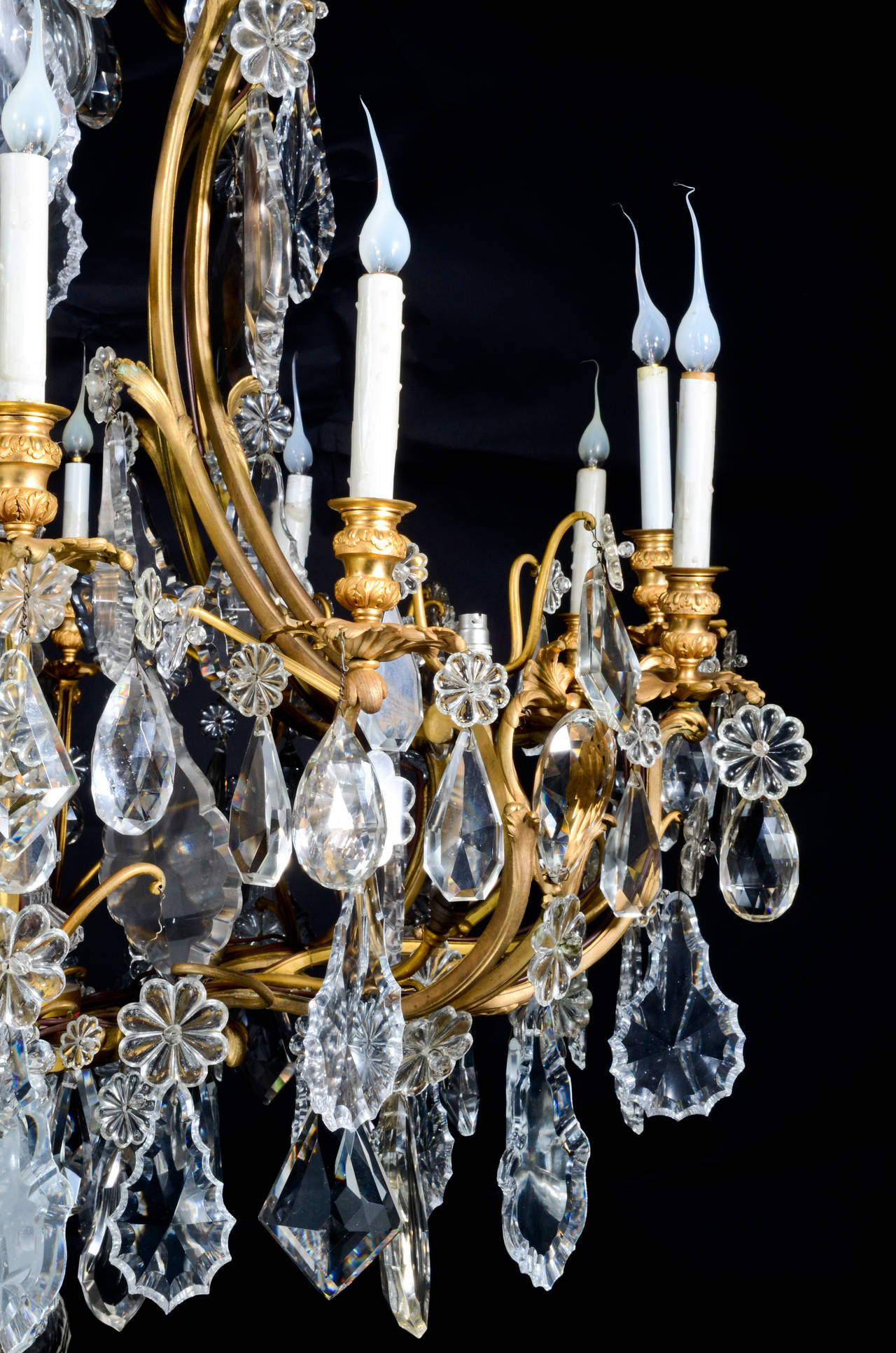 19th Century Large Antique French Louis XVI Style Gilt Bronze and Crystal Baccarat Chandelier For Sale