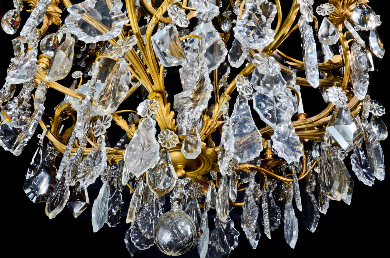 Large Antique French Louis XVI Style Gilt Bronze and Crystal Baccarat Chandelier For Sale 5