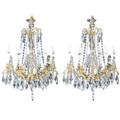 Pair of Antique French Louis XVI Style Gilt Bronze and Cut-Crystal Chandeliers