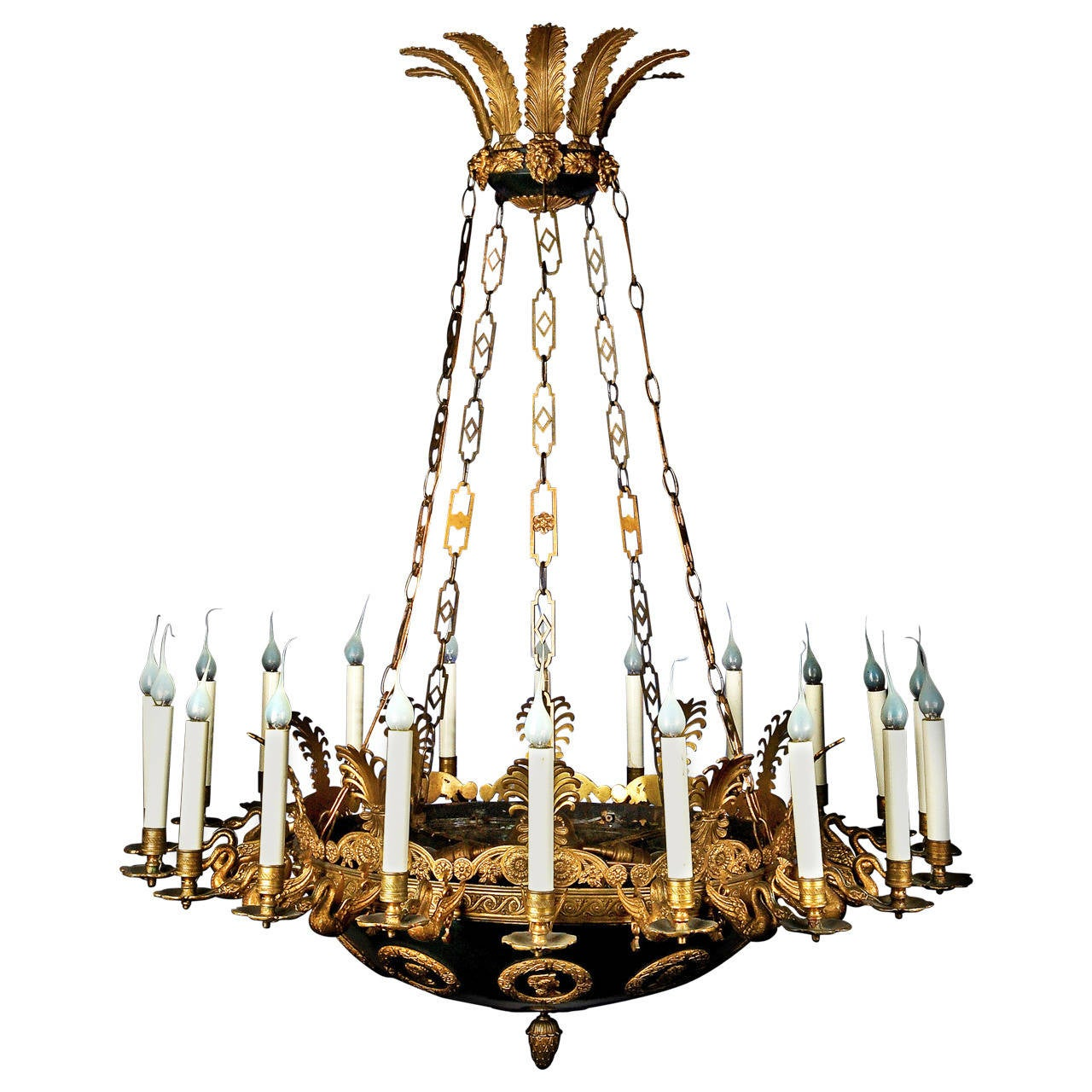 Impressive and Large Antique French Empire Gilt and Patina Bronze Chandelier - Antique French Empire Ormulu And Baccarat Crystal Chandelier For