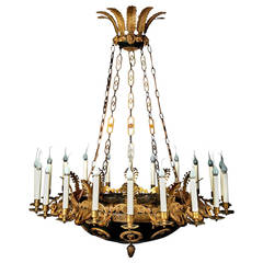 Impressive and Large Antique French Empire Gilt and Patina Bronze Chandelier