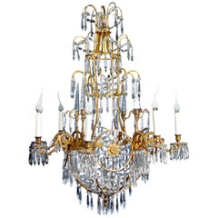 Antique Russian Neoclassical Gilt Bronze and Cut Crystal Chandelier