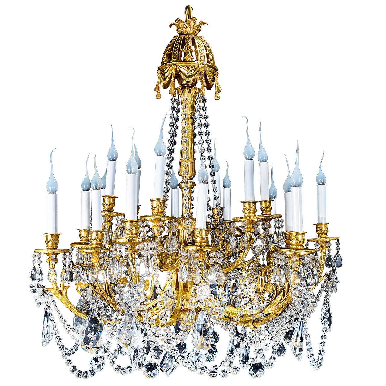 Superb Antique French Louis XVI Style Gilt Bronze and Crystal Chandelier