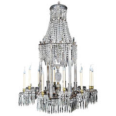 Spectacular and Large Antique English Regency Cut Crystal and Bronze Chandelier