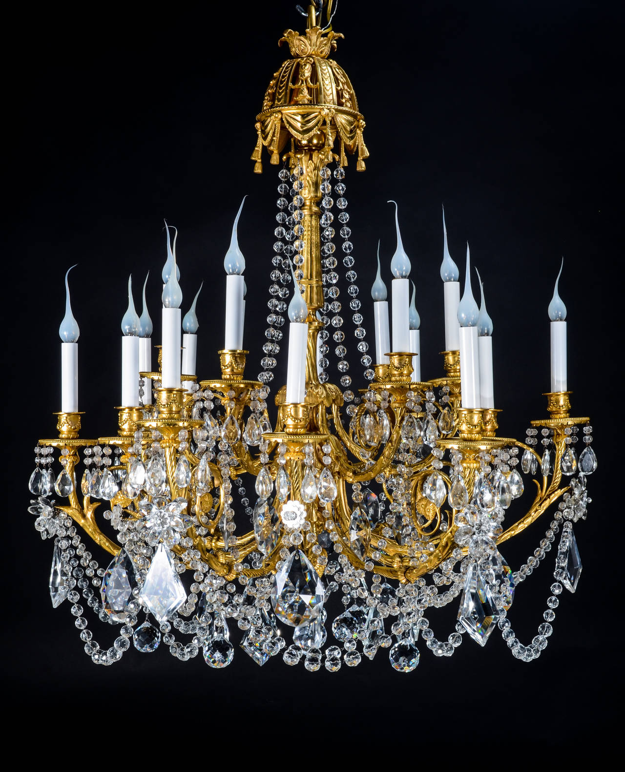 Superb Antique French Louis XVI Style Gilt Bronze and Crystal
