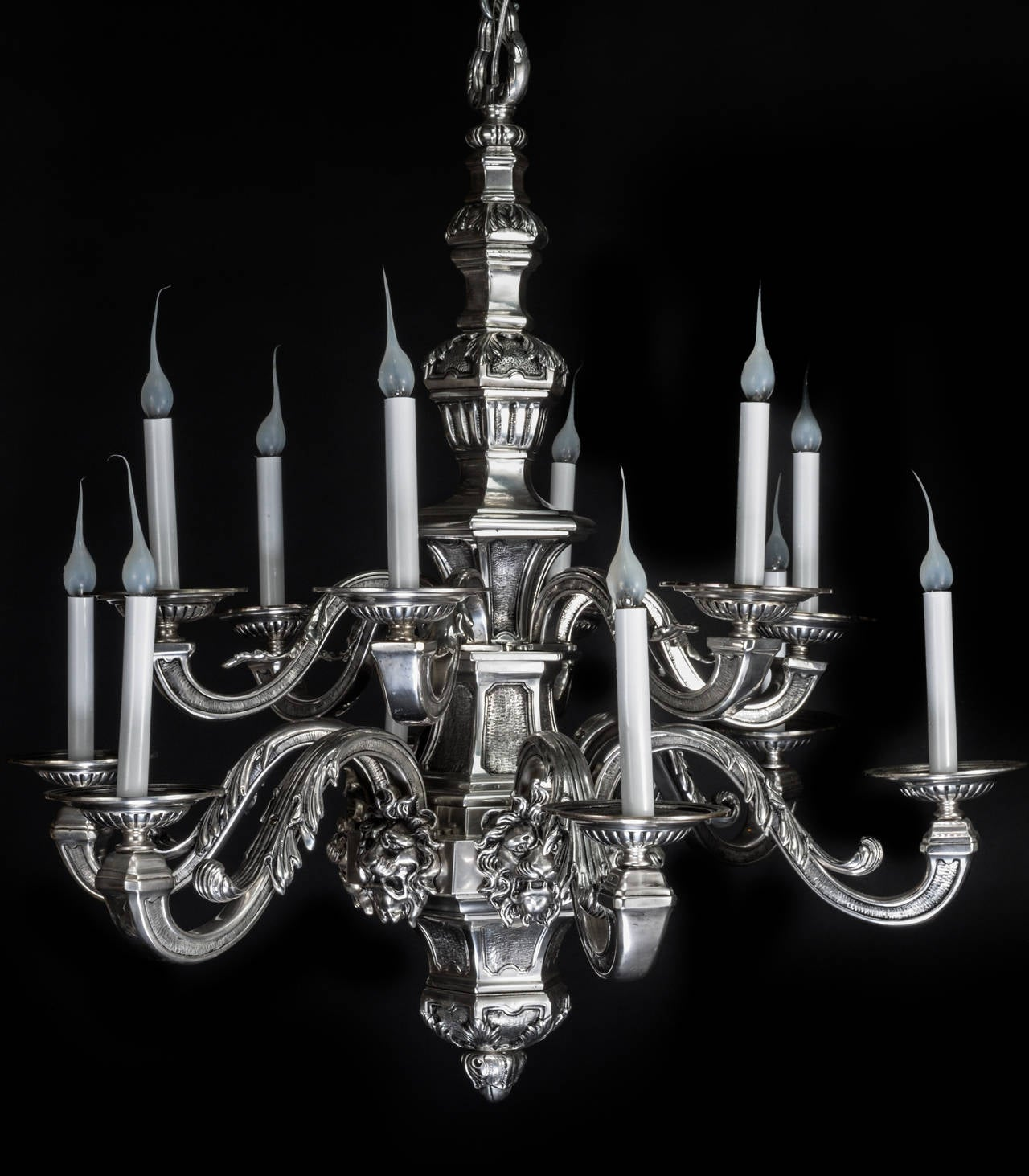 Antique american louis xvi style silvered bronze multi light lion a fine antique american louis xvi style silvered bronze multi light double tier chandelier arubaitofo Image collections