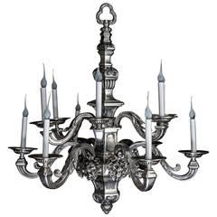 Antique American Louis XVI Style Silvered Bronze Multi-Light Lion Chandelier