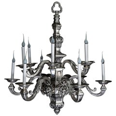 Antique American Louis XVI Style Silvered Bronze Multi-Light Lion Chandelier