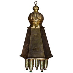 Antique Moroccan Islamic Style Brass and Green Glass Lantern Chandelier