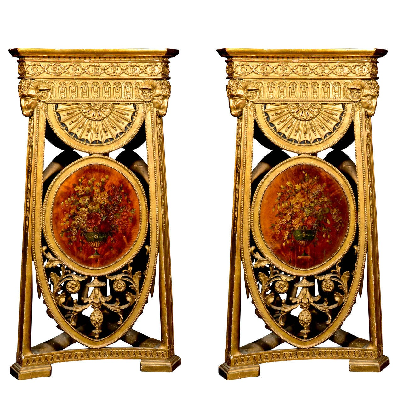 Pair of Antique English Adam Style Carved Giltwood and Painted Pedestals