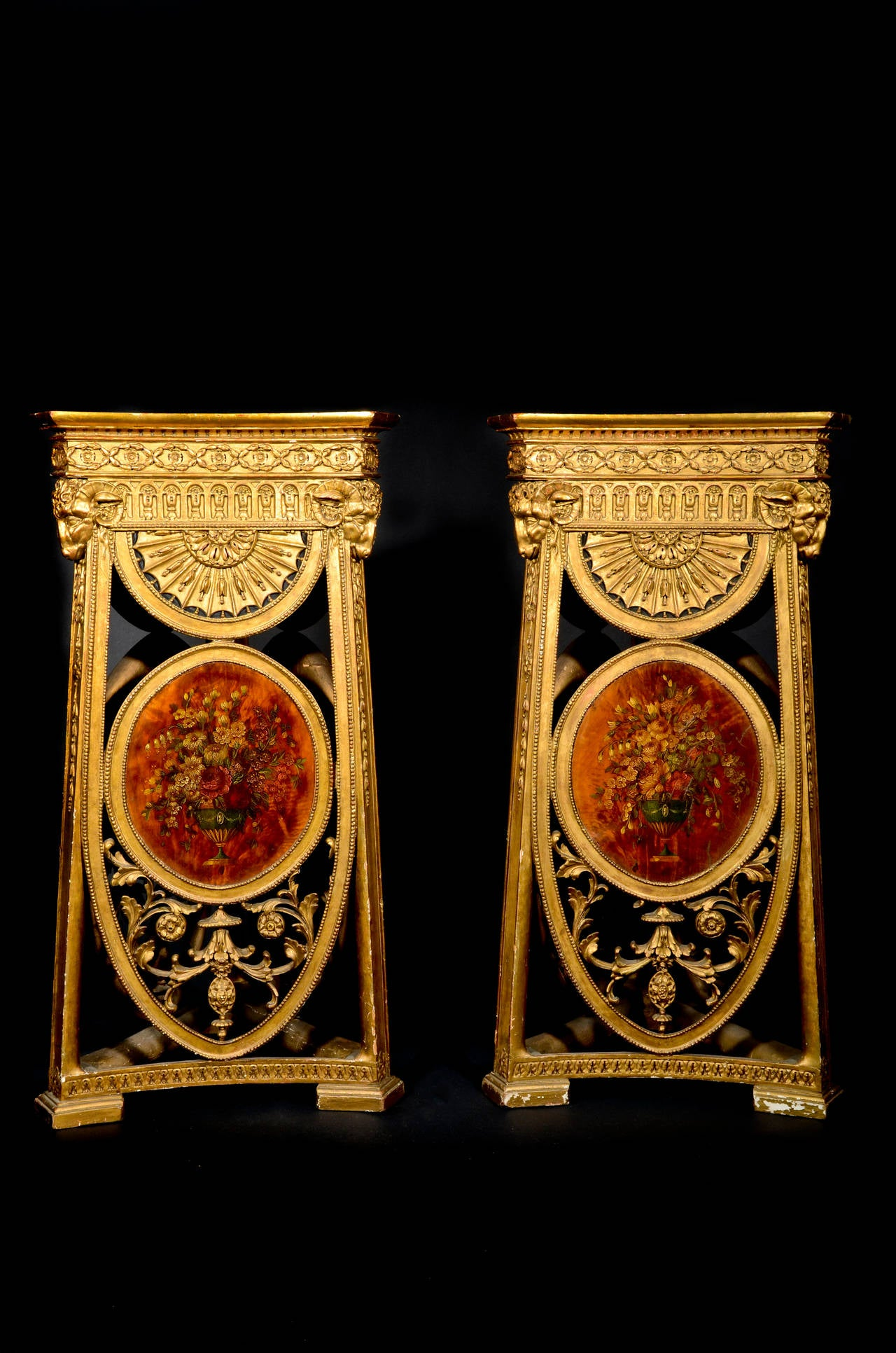 cabinet building pair of antique adam style carved giltwood and 12770