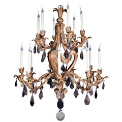 Large Antique French Louis XVI Style Gilt Tole & Smokey Rock Crystal Chandelier