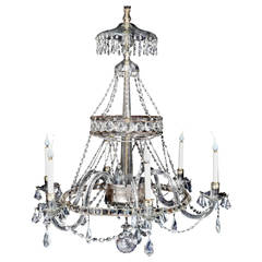 Antique Continental Louis XVI Style Cut Crystal and Metal Multi-Light Chandelier
