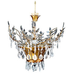 Magnificent Antique French Louis XVI Style Bagues Rock Crystal Chandelier