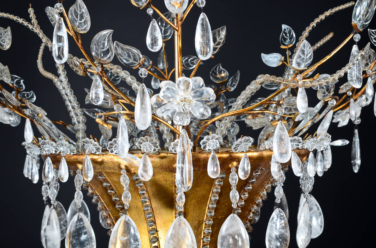 Beaded Magnificent Antique French Louis XVI Style Bagues Rock Crystal  Chandelier For Sale - Magnificent Antique French Louis XVI Style Bagues Rock Crystal