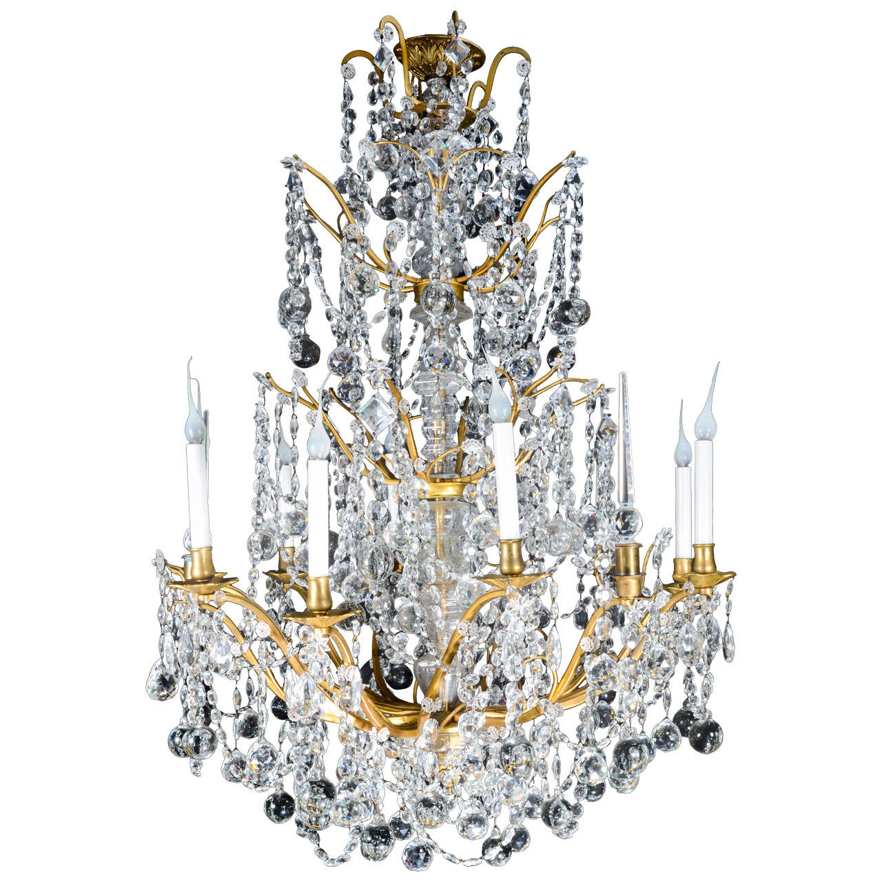 Crystal Chandelier Sale: Large Antique French Louis XVI Style Gilt Bronze And Cut