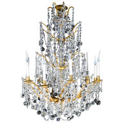 Large Antique French Louis XVI Style Gilt Bronze and Cut Crystal Chandelier