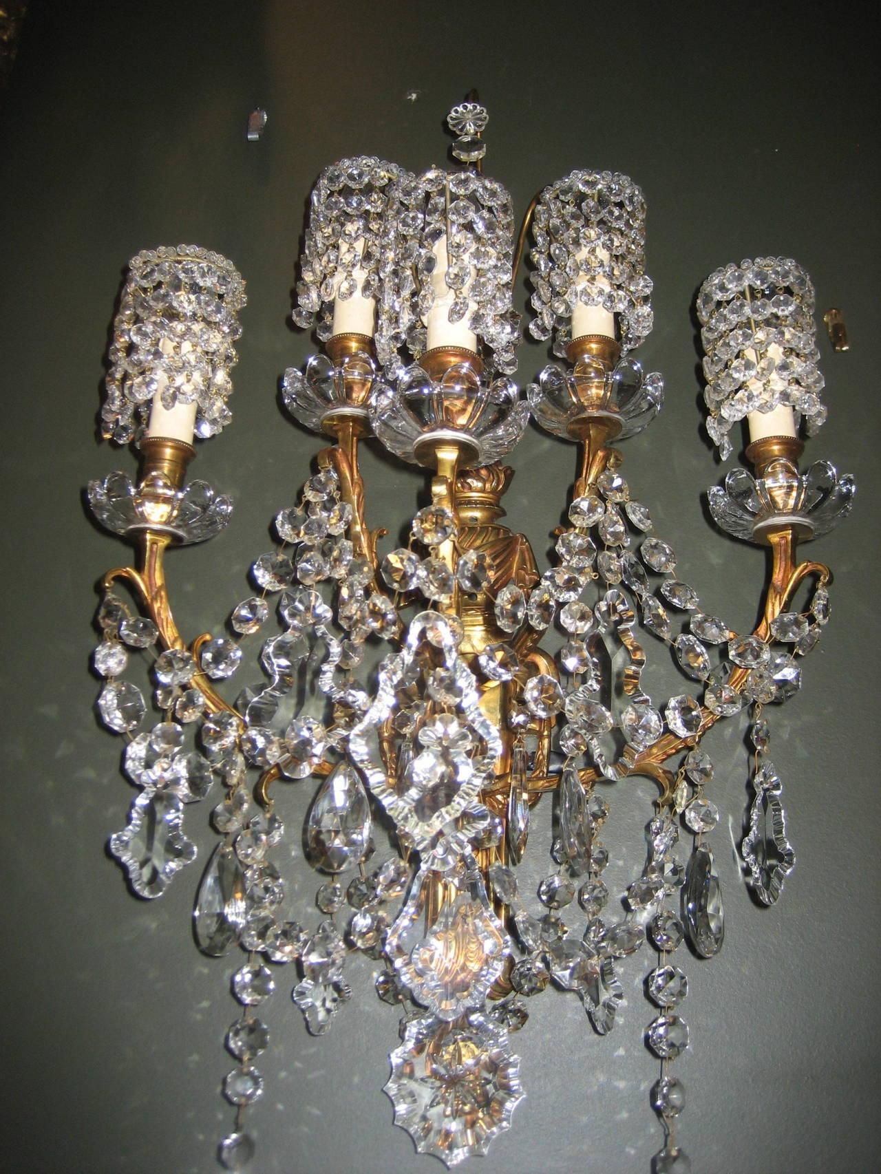 Set of six antique louis xvi style gilt bronze and cut crystal wall set of six large antique french louis xvi style gilt bronze and cut crystal multi light arubaitofo Choice Image