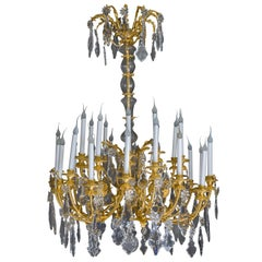 Spectacular Antique French Louis XVI Style Baccarat Bronze & Crystal Chandelier