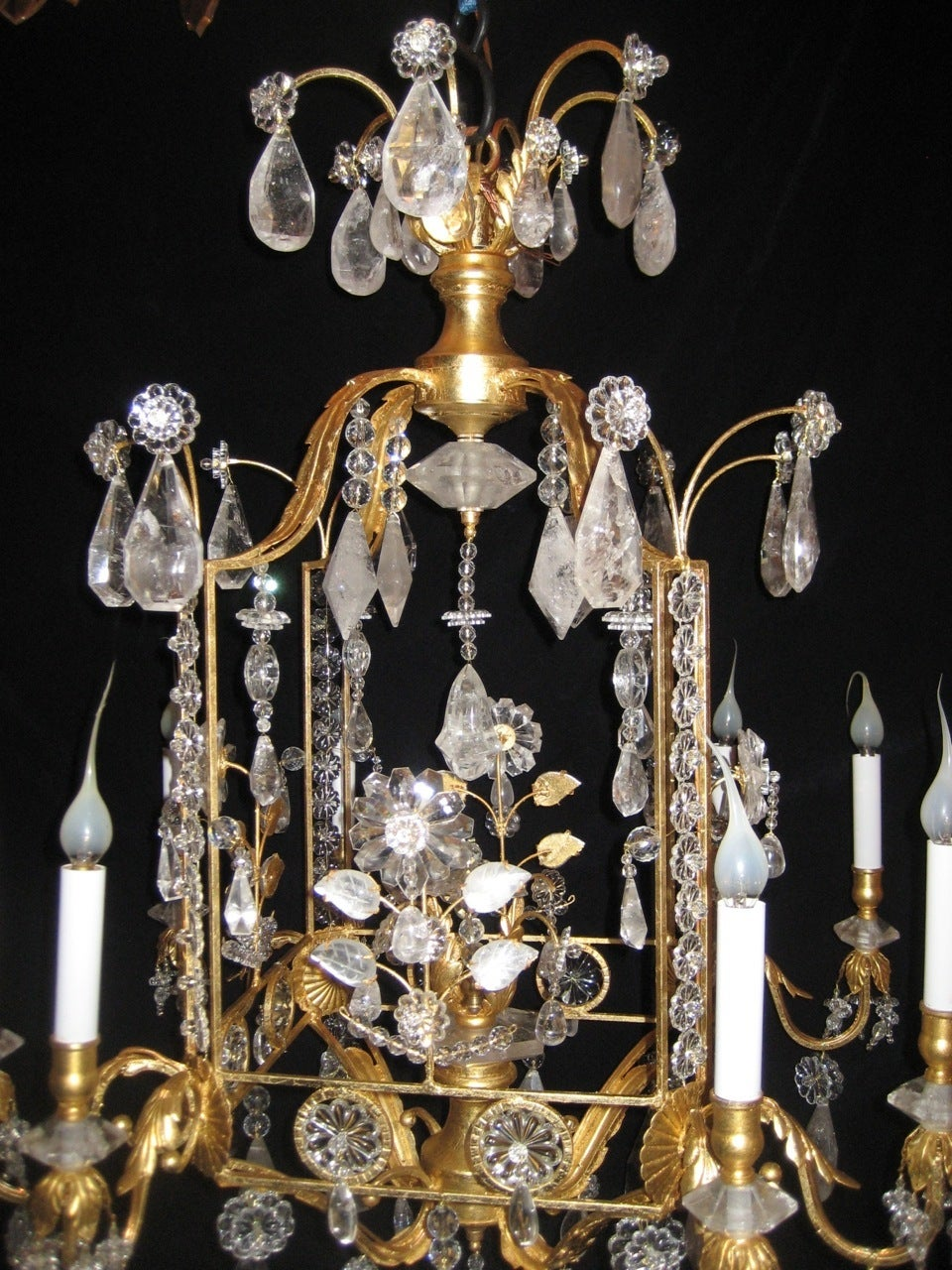 Carved A Pair of Fine Louis XVI Style Gilt and Cut Rock Crystal Bagues Style Chandelier