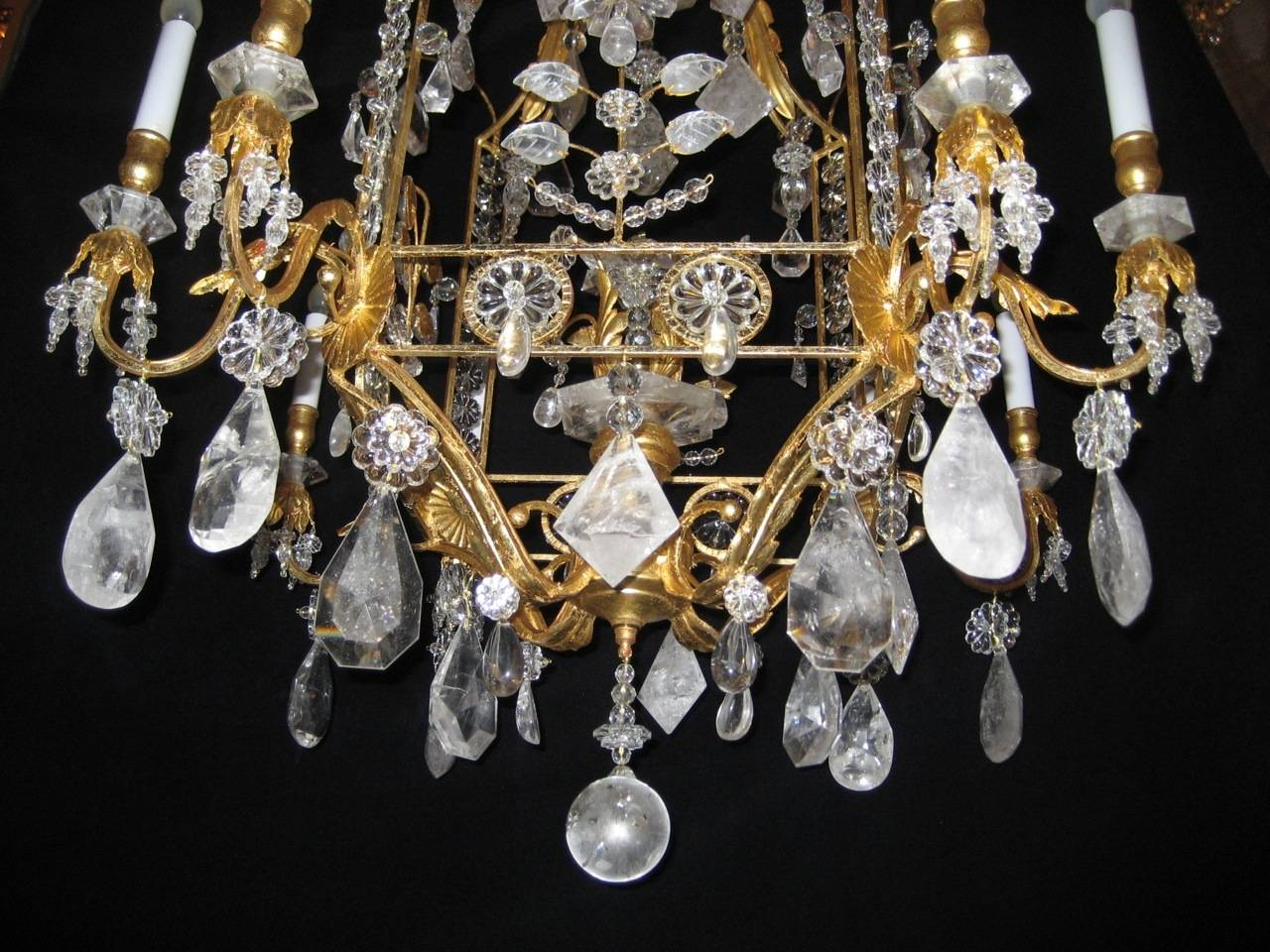 A Pair of Fine Louis XVI Style Gilt and Cut Rock Crystal Bagues Style Chandelier 2