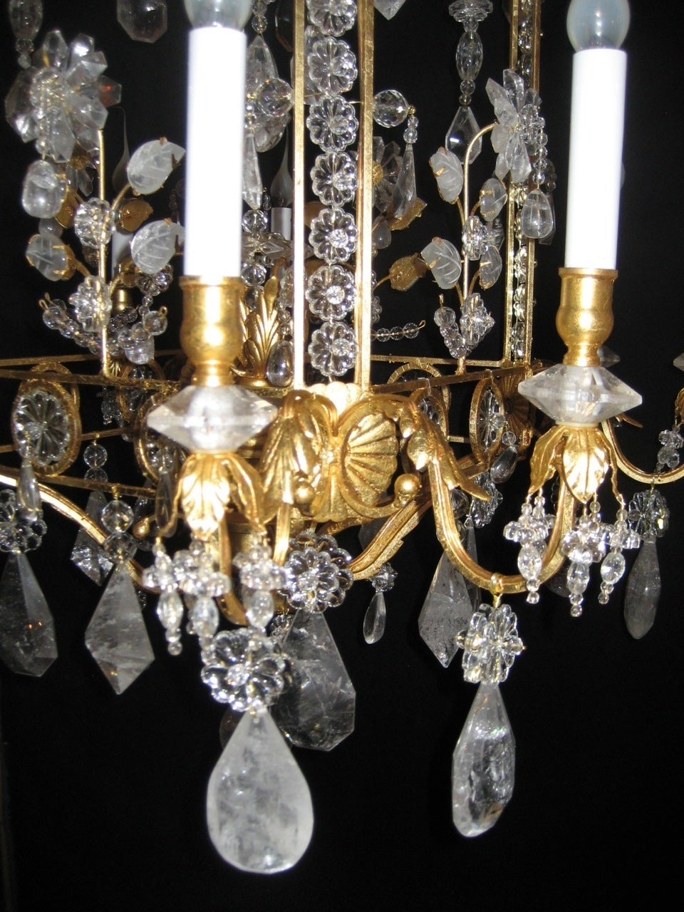 A Pair of Fine Louis XVI Style Gilt and Cut Rock Crystal Bagues Style Chandelier 1