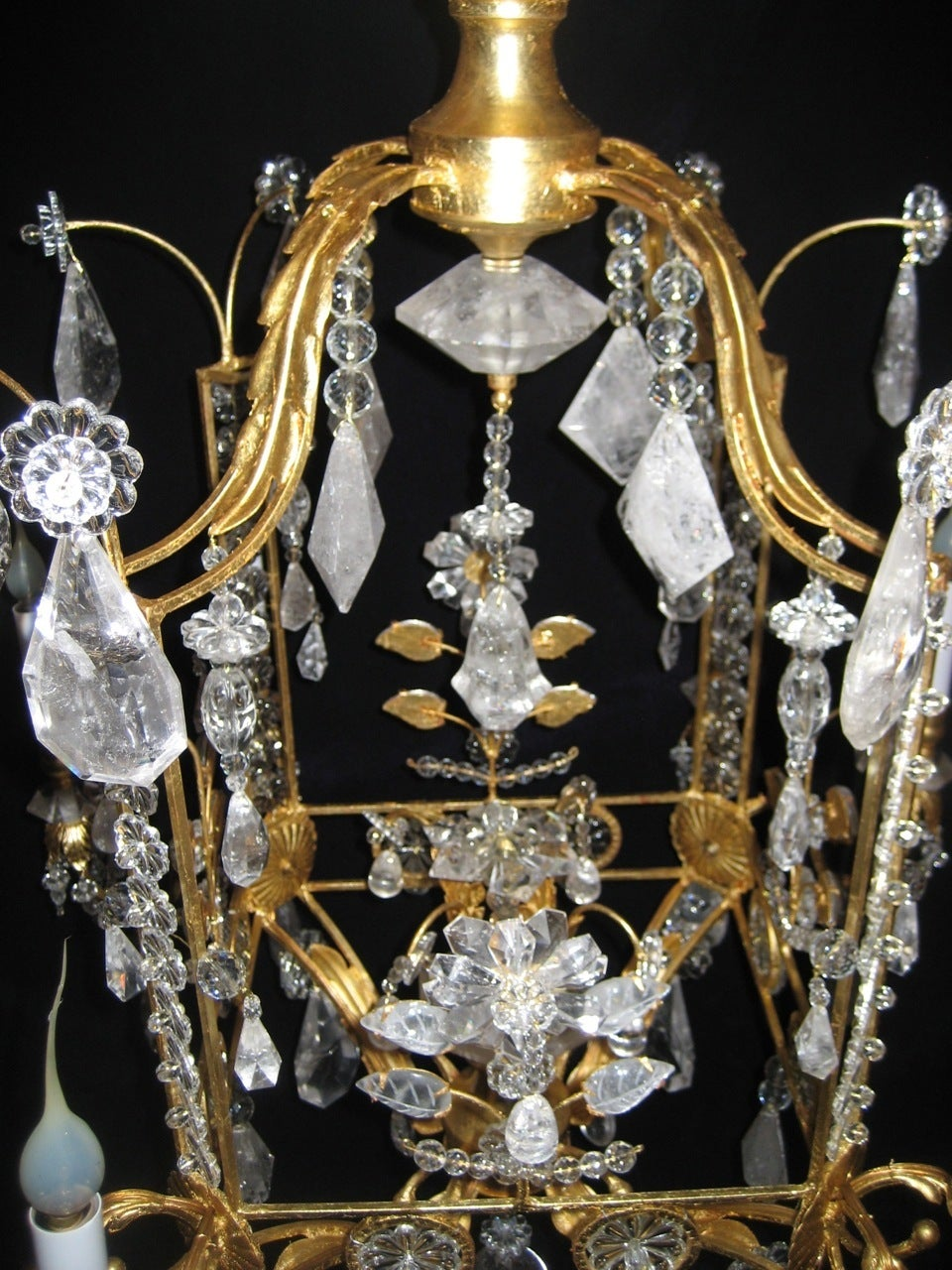 A Pair of Fine Louis XVI Style Gilt and Cut Rock Crystal Bagues Style Chandelier In Good Condition In New York, NY