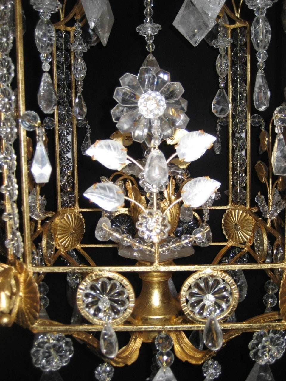Bronze A Pair of Fine Louis XVI Style Gilt and Cut Rock Crystal Bagues Style Chandelier
