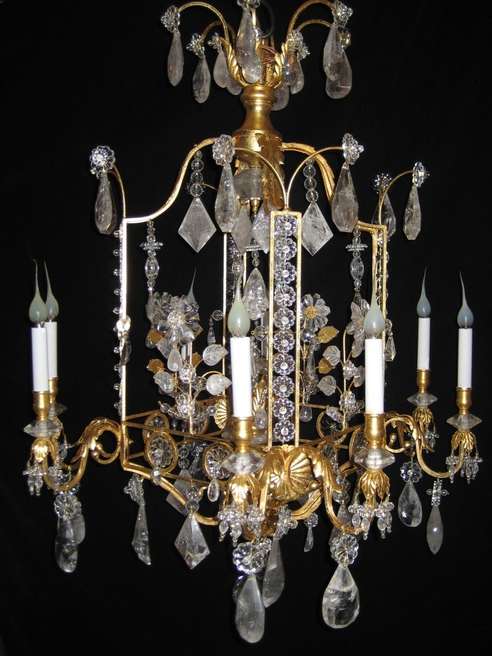 Unknown A Pair of Fine Louis XVI Style Gilt and Cut Rock Crystal Bagues Style Chandelier