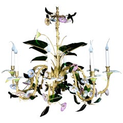Unusual Antique Austrian Floral Viennese Glass and Gilt Multi Light Chandelier