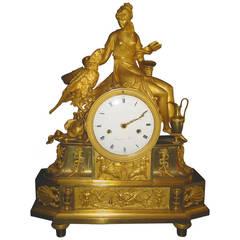 Antique French Empire Neoclassical Gilt Bronze Figural Clock