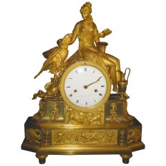Antique French Empire Neoclassical Gilt Bronze Figural Clock