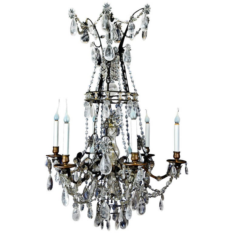 Antique French Louis XVI Style Patina Bronze and Rock Crystal Chandelier