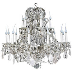French Louis XVI Style Silvered Metal, Cut Rock Crystal and Crystal Chandelier