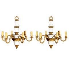 Pair of Antique French Louis XVI Style Gilt Bronze and Opaline Glass Chandeliers