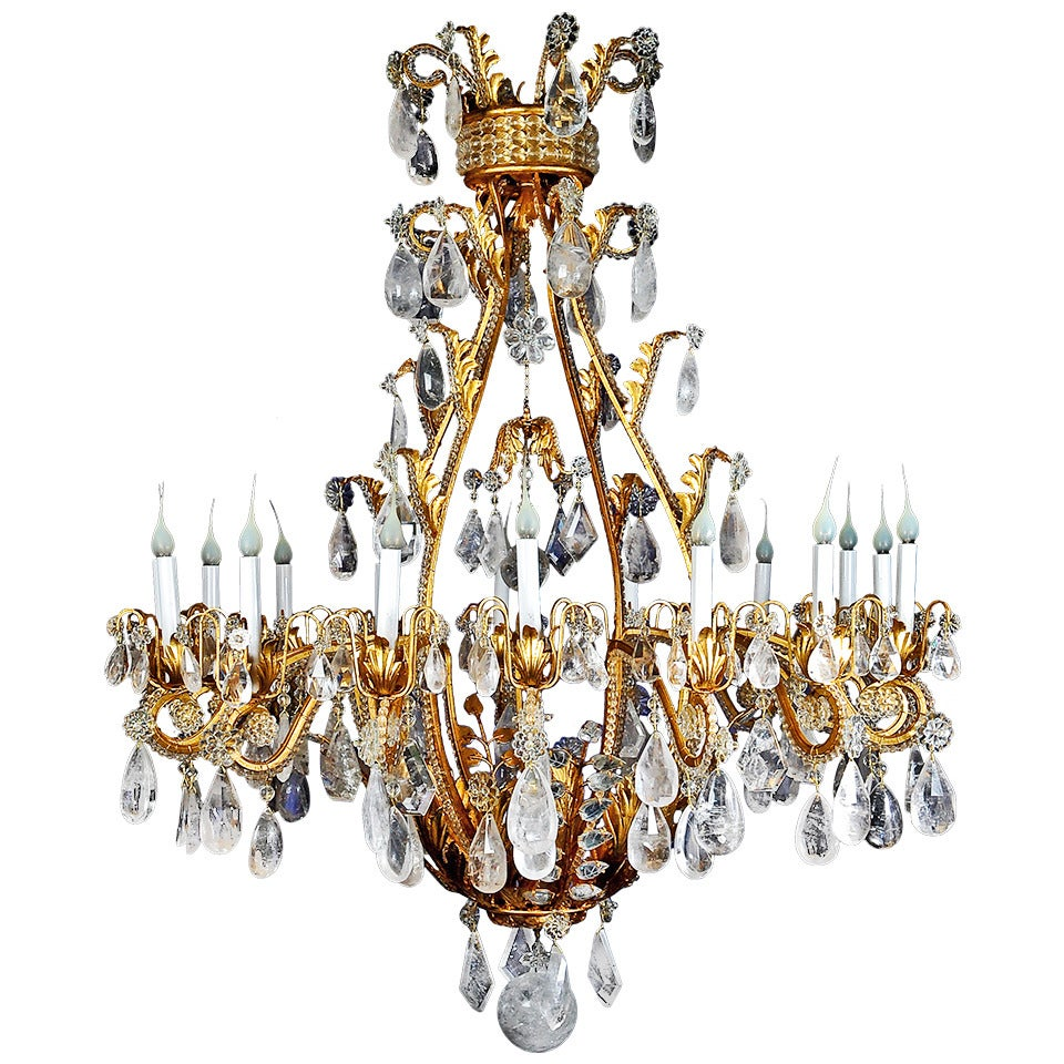 Monumental Bagues Style Gilt and Rock Crystal, Multi-Light Chandelier