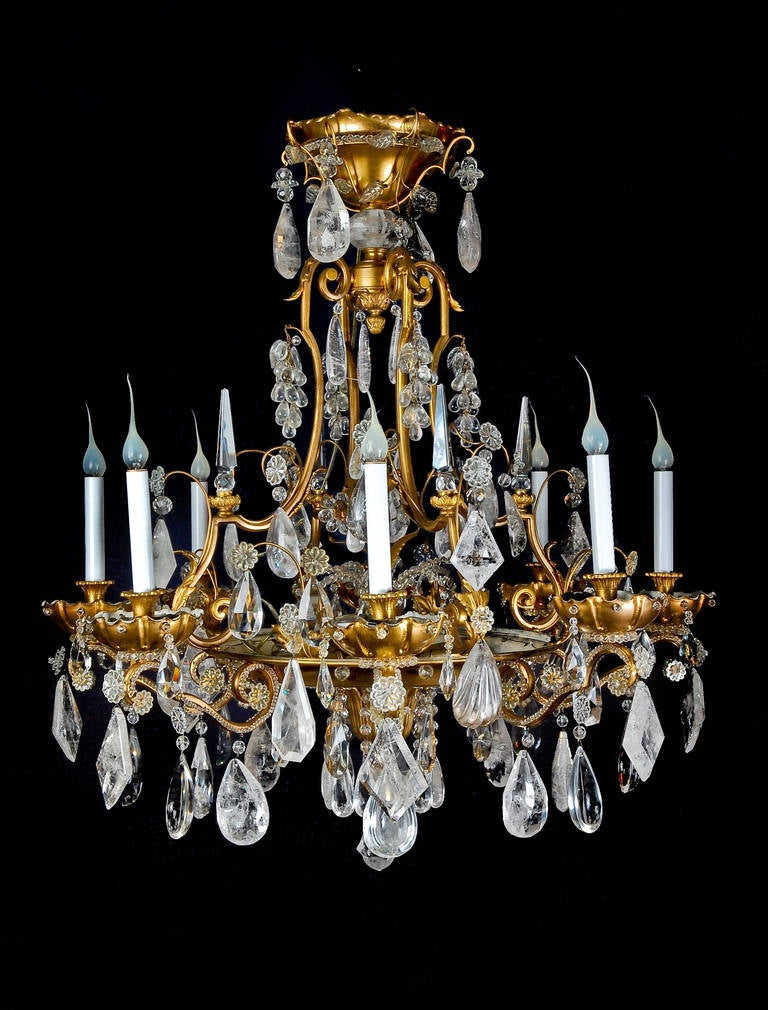 Magnificent Antique French Bagues Gilt Bronze and Rock Crystal Chandelier 2 - Magnificent Antique French Bagues Gilt Bronze And Rock Crystal