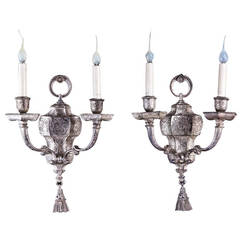 Pair of Antique American Moorish Style, Silvered Bronze Caldwell Sconces