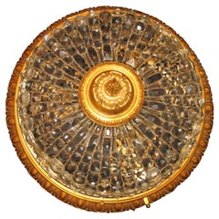 Fine Antique French Louis XVI Style Gilt Bronze and Cut Crystal Flush Mount