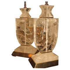 Pair of Art Deco Style Cut Rock Crystal Silvered Mounted Lamps