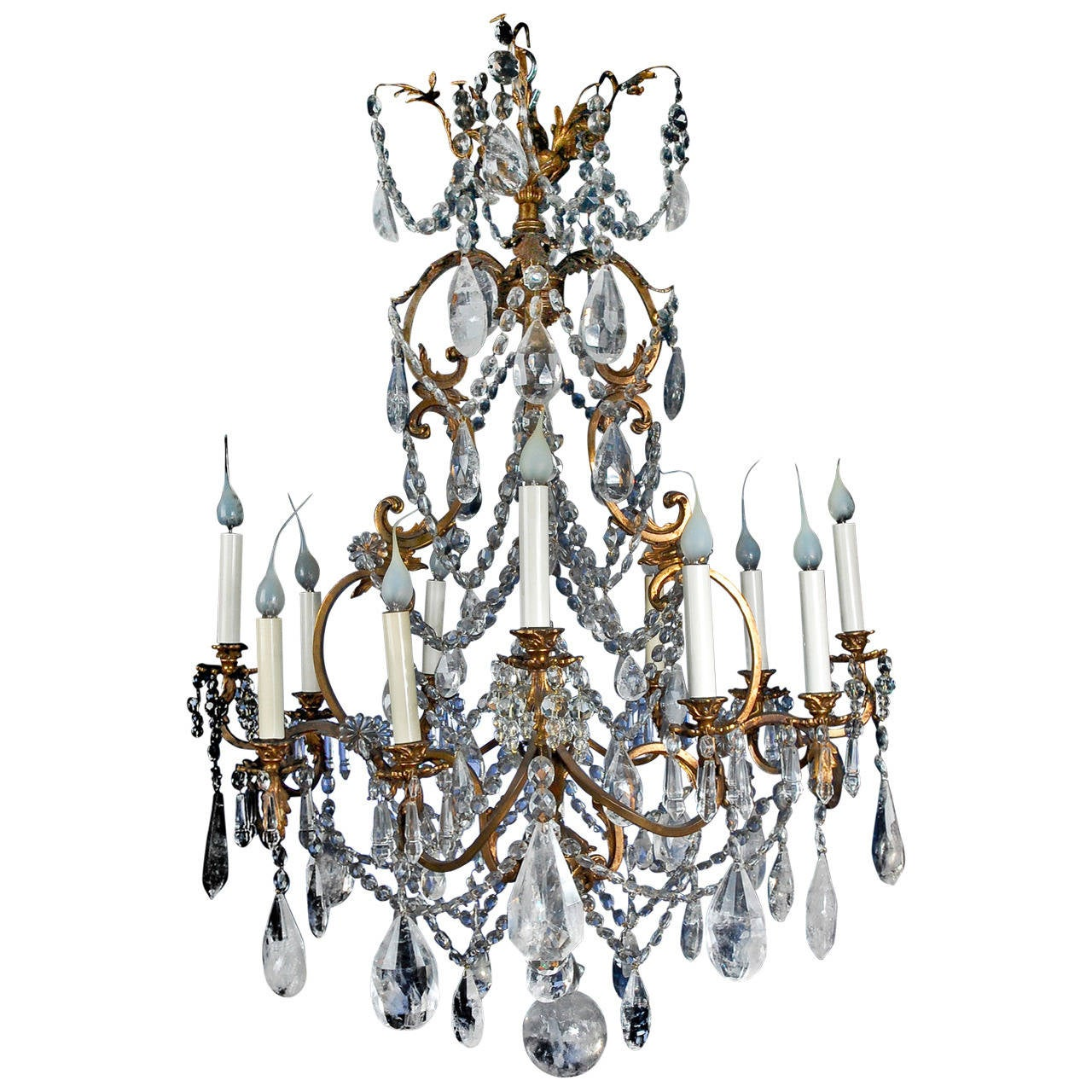 Fine Antique French Louis XV Style Gilt Bronze and Cut Rock Crystal  Chandelier For Sale - Fine Antique French Louis XV Style Gilt Bronze And Cut Rock
