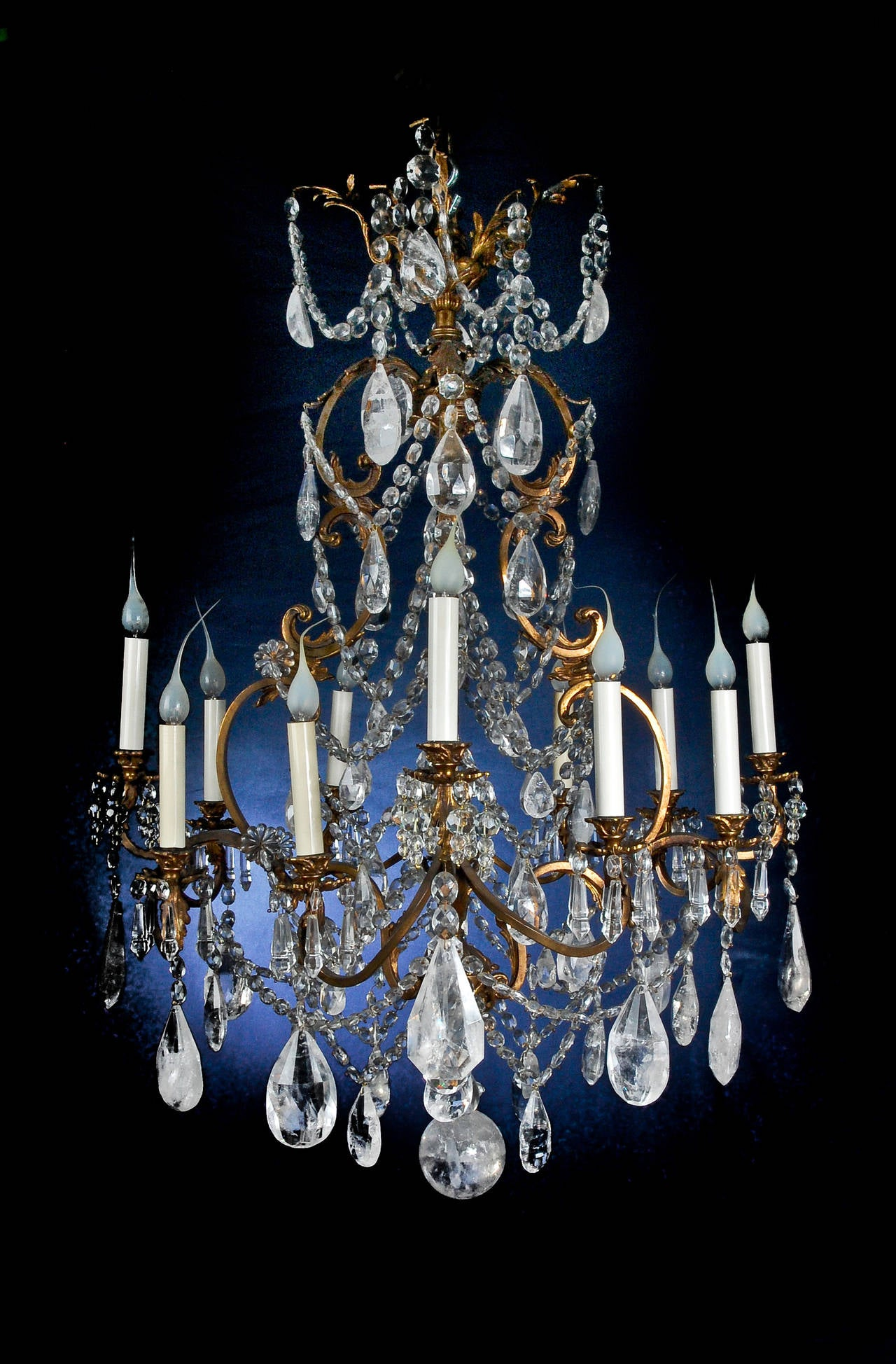 Fine antique french louis xv style gilt bronze and cut rock fine antique french louis xv style gilt bronze and cut rock crystal chandelier in good condition aloadofball Image collections