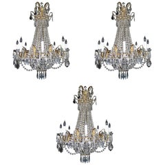 Set of Three Antique French Louis XVI Style Gilt and Crystal Chandeliers