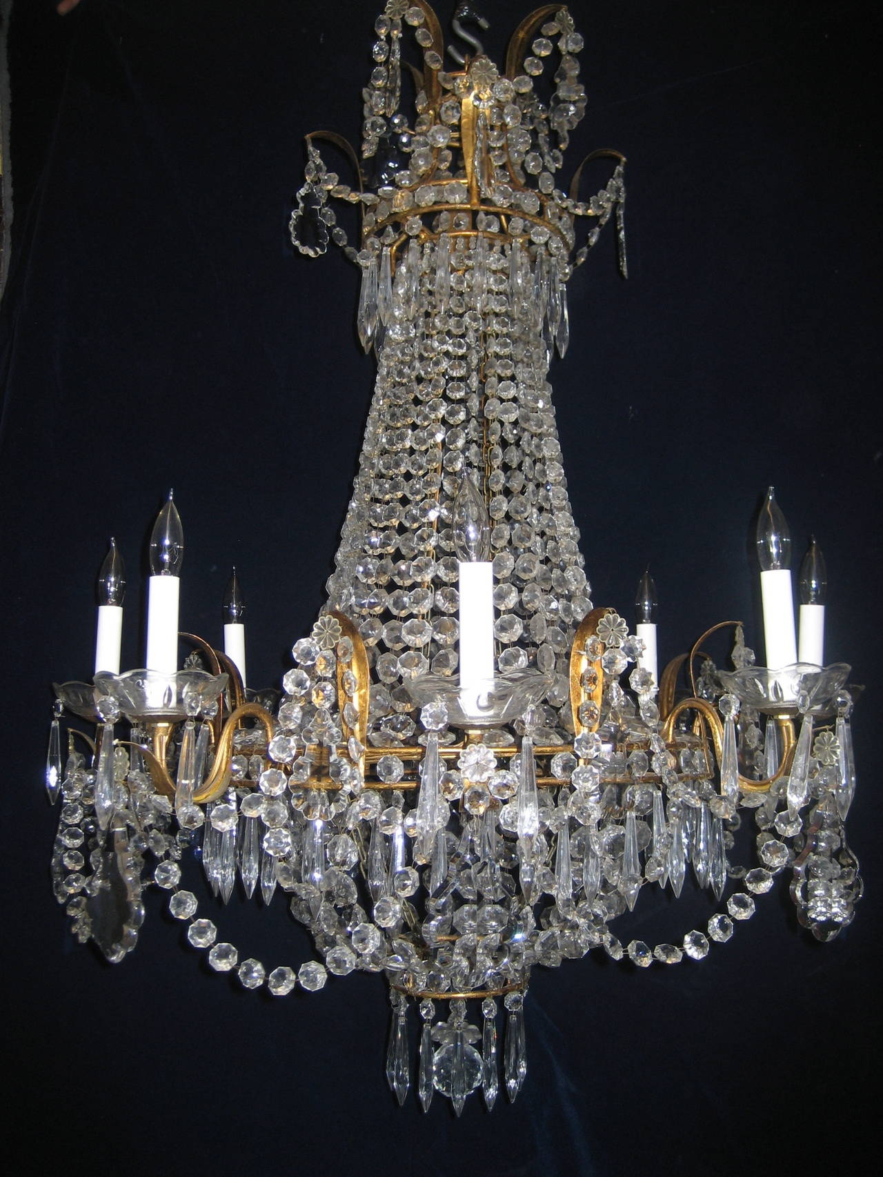A Set of 3 Antique French Louis XVI Style Gilt Bronze & crystal eight light  chandeliers - Set Of Three Antique French Louis XVI Style Gilt And Crystal