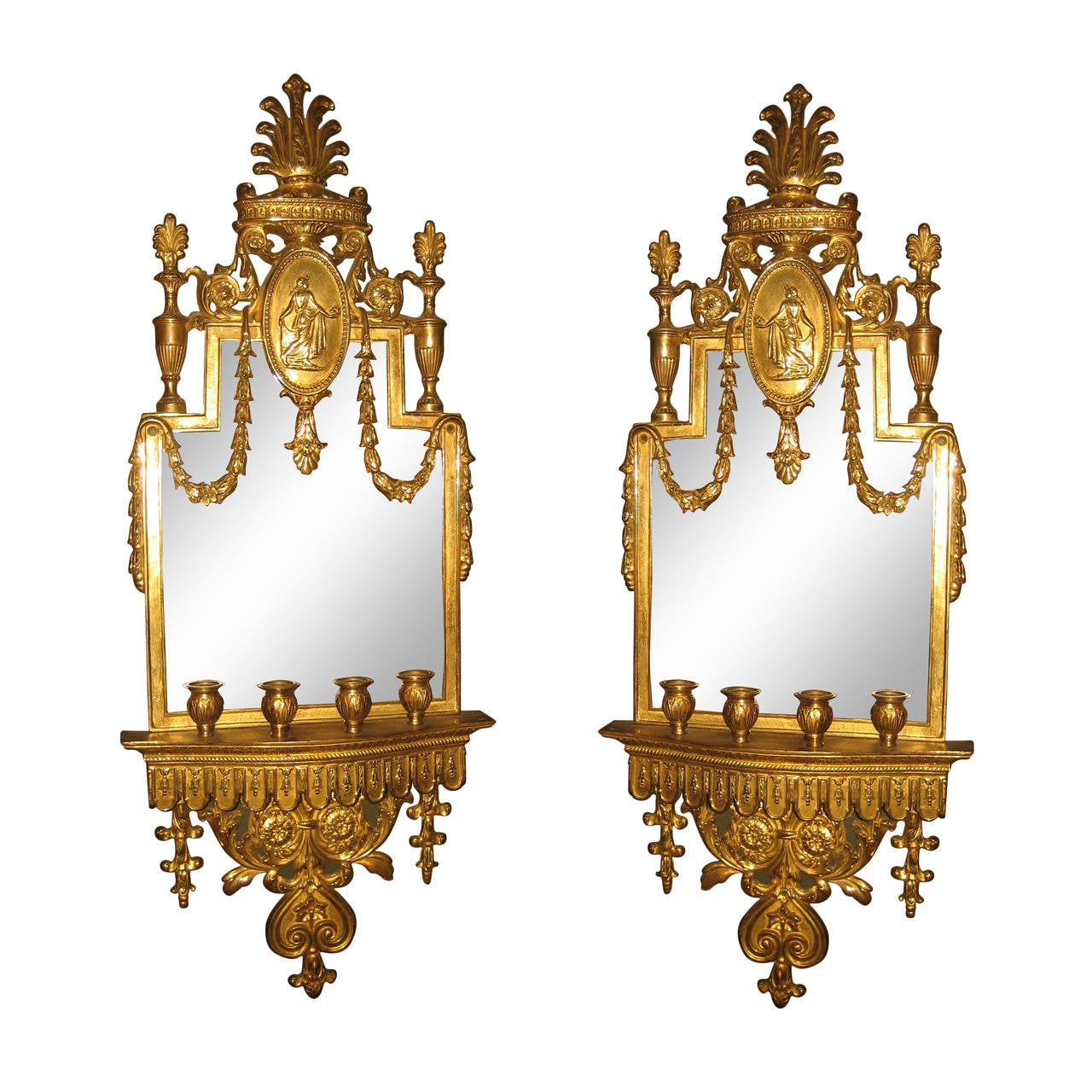 Antique Mirror Wall Sconces : Pair of Antique French Neoclassical Gilt Bronze Mirrored Wall Sconces at 1stdibs