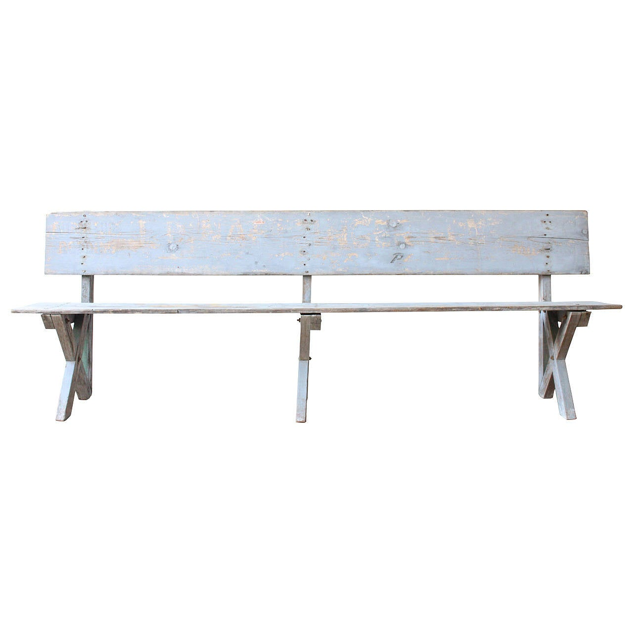 Primitive Pine Work Bench With Backrest At 1stdibs