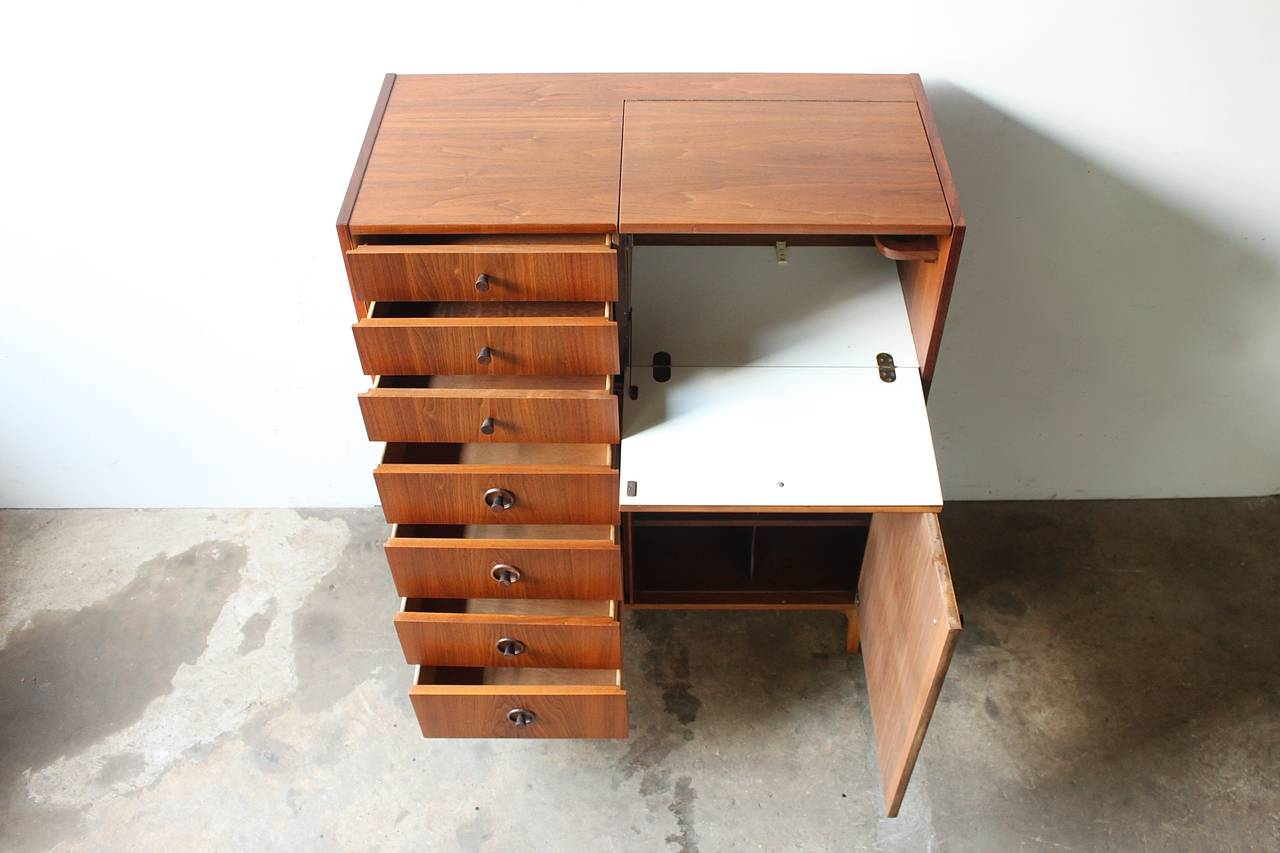 Walnut Highboy Dresser by Kroehler at 1stdibs