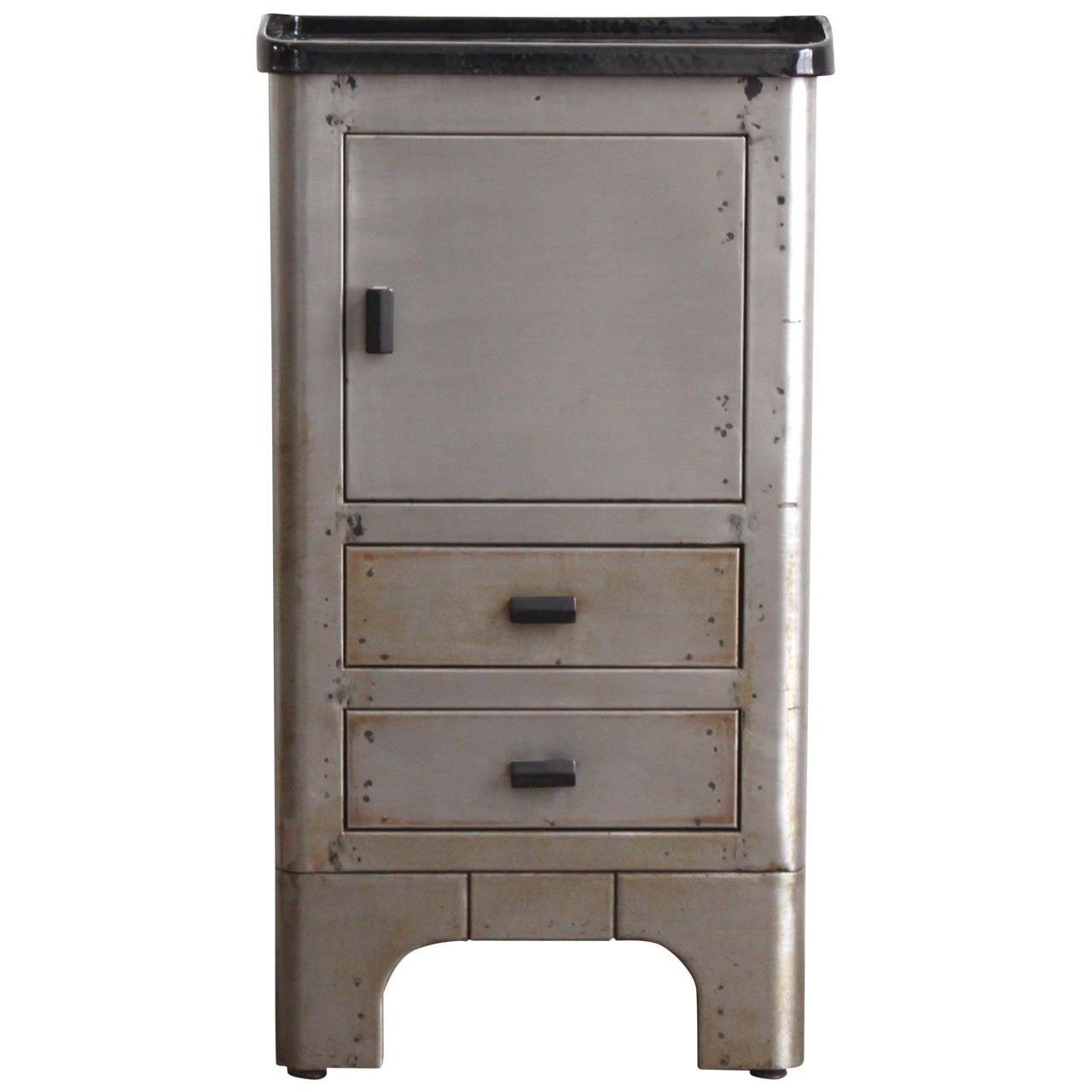 Enamel Top Cabinet Industrial Metal Enamel Top Nightstand At 1stdibs